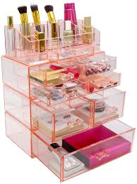 sorbus acrylic cosmetics makeup and jewelry storage case display sets interlocking drawers to create your own specially designed makeup counter