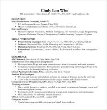 resume for computer science resume computer science resume and cover letter resume and cover