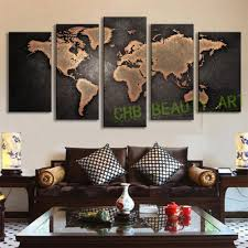 Modern Wall Paintings Living Room 5 Pcs Set Modern Wall Art Painting Vintage World Map Canvas