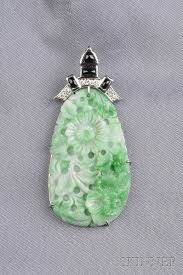 14kt white gold carved jade black onyx and diamond pendant