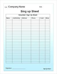 Sign Up Sheet Template Excel Printable In Templates Free Word