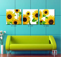 3 pieces modern simple decorative paintings gold sunflower wall art painting for living room wall fashion