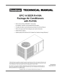 Goodman Subcooling Chart Goodman Mfg Rs6300011 Air Conditioner User Manual Manualzz Com