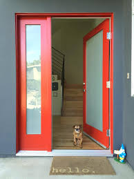 red front door on brick house. Front Door Red Brick Gray House Fancy Design Home Exterior Ideas Featuring Color And Frosted Glass On