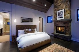 Awesome Stone Fireplace Design in Bedroom