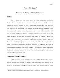 final research essay columbus s voice
