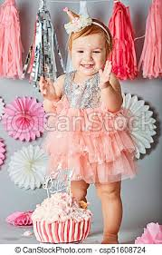 Baby Girl First Birthday Cake Smash Photo Shoot Little Baby Girl