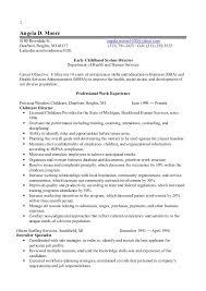 sample early childhood education resume