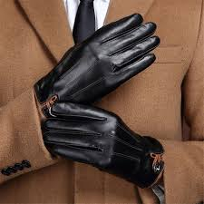 autumn winter warm genuine leather gloves men driving plus cashmere thick goat leather gloves touch screen gloves gr 99001 5 mens gloves