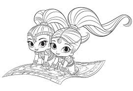 Shimmer And Shine Pumpkin Parties Free Coloring Pages Coloring