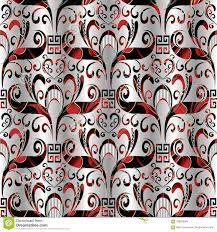 Bloemen Naadloos Patroon Vector 3d Zilveren Zwart Rood Als
