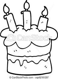 Line Drawing Cartoon Birthday Cake