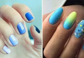 Manikúra V Krátké Modré Tóny Modrá Manikúra Módní Trendy A