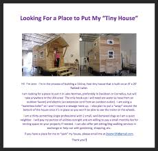 where can i park my tiny house. Simple Where Below Is An Example Of The Flyer That My Friend Jenn Used To Successfully  Find A Place Park Her Tiny House Intended Where Can I Park My Tiny House T