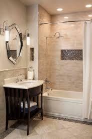 contrasting mosaic on floor edge & in tub surround.