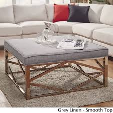 Solene Geometric Base Square Ottoman Coffee Table   Champagne Gold By  INSPIRE Q Bold ([Dark Brown PU]  Dimpled Tufts), Size Medium (Fabric)
