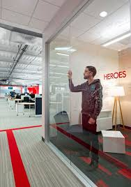 office space names. Design Blitz Finishes Comcast Office In Red Space Names S