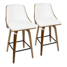 walnut and white faux leather counter stool set of 2