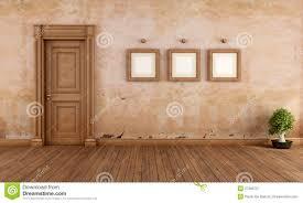 Empty Vintage Interior With Wooden Door Stock Illustration - Image ...