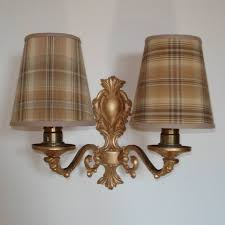 fascinating mini chandelier shades paste on the walls and gingham and iron