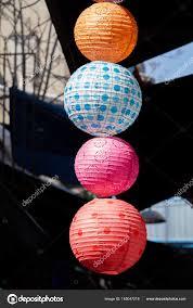 Kleurrijke Lampion Die Buiten Zijn Markt Stockfoto Turgayada