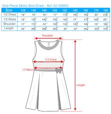 School Skirt Size Chart