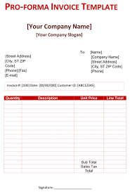 Performa Format Pro Forma Invoice Template 5 Free Pro Forma Invoices
