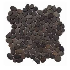 pebble tile natural black stratastones regarding river rock prepare 17