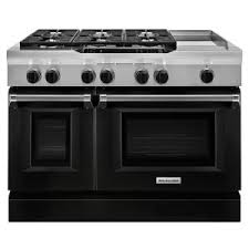 kitchenaid 48 range. KitchenAid 48 In. 6.3 Cu. Ft. Dual Fuel Range Double Oven With Convection In Imperial Black-KDRS483VBK - The Home Depot Kitchenaid I