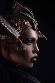 profile of woman with fashion makeup