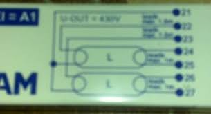 can anyone help me wire up this t5 ballast so on the ballast i can see 7 outlets numbered 21 22 23 24 25 26 and 27 i assume the l in a tube is the light tube itself
