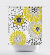 navy blue and yellow shower curtain. mustard yellow and navy blue flower shower curtain, high quality fabric curtain h