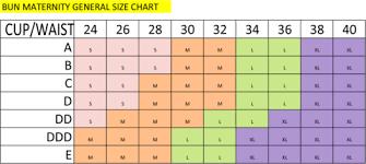 Size Chart Bun Maternity Nursing Apparel
