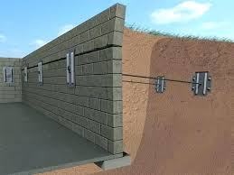 cinder block wall repair. Delighful Cinder Concrete Block Foundation Wall Anchors Installed To Repair The Shown Wal With Cinder Block Wall Repair