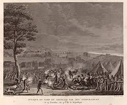 french directory attack by the followers of babeuf of the army camp of grenelle on 9 and 10 1796 drawing by abraham girardet engraving by pierre gabriel