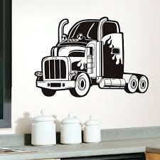 semi truck vinyl wall sticker long vehicle car decals for kids rooms home decor removable race vintage car old wall decals