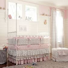 Designs Ideas:Beauty Soft Pink Nursery With Polka Dots Baby Crib And Small  White Ottoman