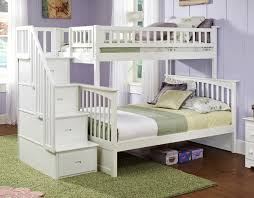 bunk beds with stairs. Amazon.com: Columbia Staircase Bunk Bed, Twin Over Full, White: Kitchen \u0026 Dining Beds With Stairs