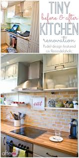 Tiny Kitchen Remodelaholic Tiny Kitchen Renovation With Faux Painted Brick