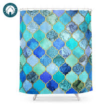 Moroccan Tile Pattern Adorable Cobalt Blue Aqua Gold Decorative Moroccan Tile Pattern Shower