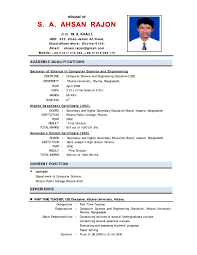 Resume Indian Format Cv India For Teacher Job In Fresher Samples