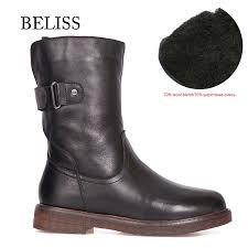 <b>BELISS</b> warm boots winter fur mid calf cow <b>genuine leather</b> 2018 ...