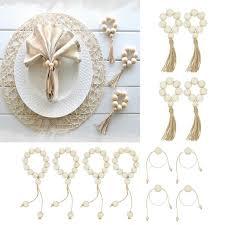 ootdty 4pcs natural wooden bead napkin rings jpg