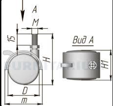 <b>Опора двухколесная с винтом</b> M10, D50 мм, со стопором, OK-50/2 ...