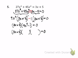 more factoring solving polynomial equations 7 4b part 2