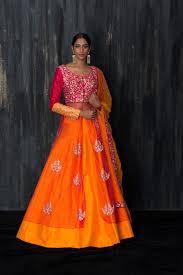 Pink Orange Combination Custom Made Raw Silk Bridal Lehenga C17138