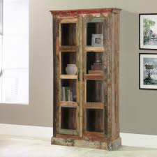rustic reclaimed wood glass door tall display cabinet