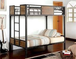 metal bunk bed. Rustic Wood \u0026 Black Metal Twin/twin Bunk Bed - CA029F