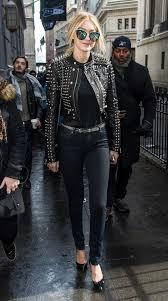 studded black leather jacket black skinnies belt heels black tee all