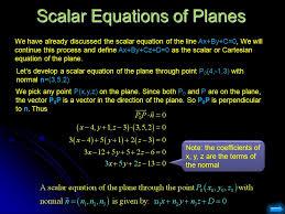 scalar equations of planes
